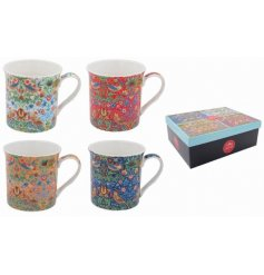 A charming set of Fine China Mugs each complete with a trending Strawberry Thief Decal