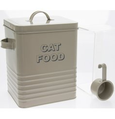 Safely and stylishly store away your pets food in this charming square ridged storage box