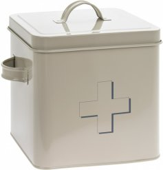 A charming cream toned storage tin with an added block grey cross