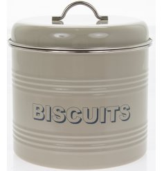 A charming cream toned storage tin with an added ridge decal and block grey text