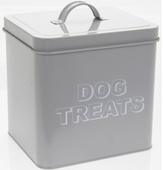 A sleek grey metal storage tin with a printed 'Dog Treats' text