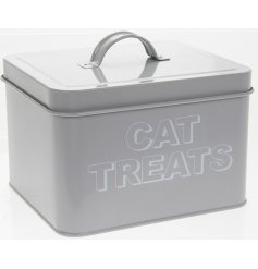 Metal Cat Treats Storage Tin  A sleek grey metal storage tin with a printed 'Cat Treats' text