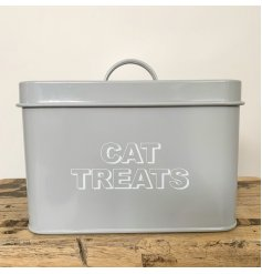 Keep your cats delicious treats fresh and hidden away with this sleek and stylish grey metal tin