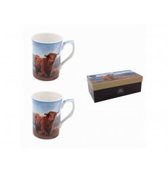 A charming set of Fine China Mugs featuring a Highland Cow design