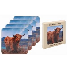 A grazing Highland Cow design perfectly printed onto 4 cork based coasters, set inside a glossy gift box