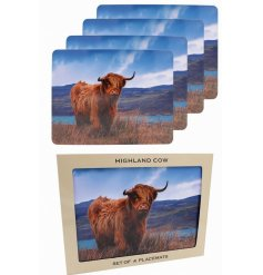 A grazing Highland Cow design perfectly printed onto 4 cork based placemats