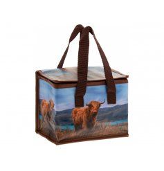 A grazing Highland Cow design perfectly printed onto a reusable lunch bag