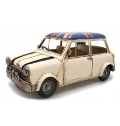 A vintage inspired rally car vehicle in an distressed cream and red tone