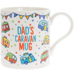 A charming and colourful themed Fine China Mug with an added bold text