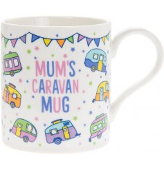 A fun themed Fine China Mug featuring a colourful print and 'Mums Caravan Mug' text