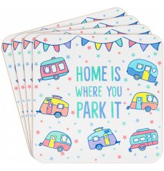 A charming set of 4 coasters filled with colourful features and an added Caravan inspired theme