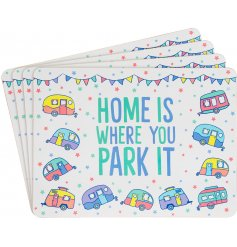 A charming set of 4 placemats filled with colourful features and an added Caravan inspired theme