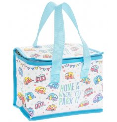 A charming lunch bag with colourful features and an added Caravan inspired theme