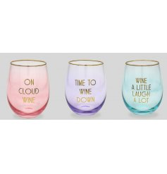 Bring a colourful touch to your Pre-Drinks or Parties with this stylish assortment of stemless glasses