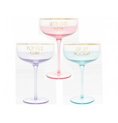 Bring a colourful touch to your Pre-Drinks or Parties with this stylish assortment of stemmed cocktail coupes
