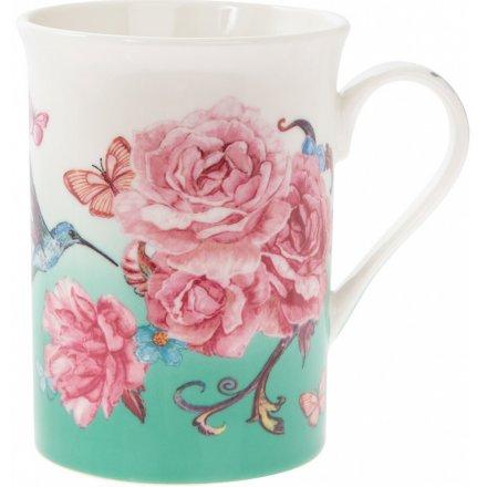 Fine China Pink Blossom Mug
