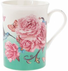 Part of a beautiful range, this fine china mug is decorated with a delightful pink blossom decal