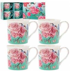 A bold and beautiful mug gift set featuring a stunning oriental blossom design.