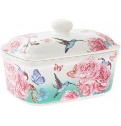 A bright and beautiful oriental blossom butter dish. Complete with hummingbirds and butterflies.