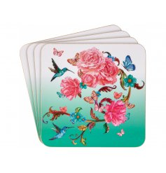 A set of 4 stylish coasters with a pretty oriental blossom design.