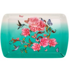 A beautiful oriental blossom design tray, complete with hummingbirds and butterflies.