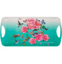 A bright, beautiful and super practical tray with twin handles, featuring our popular Oriental Blossom print.