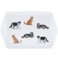 A small serving tray covered with different cat breeds