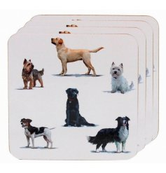 A charming set of cork based coasters with a printed illustration of dog breeds