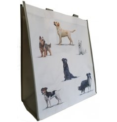 Covered in an array of illustrated dog breeds, this grey handled shopping bag is perfect for any supermarket run!