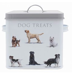this white base toned storage tin is perfect for keeping your furry friends treats fresh and out of the way