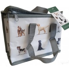A beautifully illustrated dog lunch bag