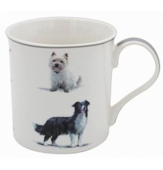 Set with a fabulous display of dogs, this fine china mug comes gift boxed.