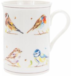 A charming, fine quality mug with a watercolour bird print. A lovely spring gift item.