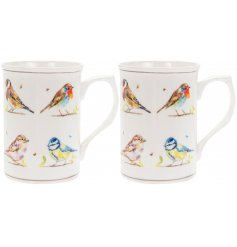 A set of 2 fine quality mugs with a beautifully illustrated bird design. Complete with matching colour gift box.