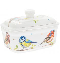 A country living style butter dish featuring a variety of watercolour painted bird varieties.