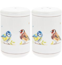 A country living set of 2 salt and pepper shakers, each featuring beautifully illustrated bird varieties