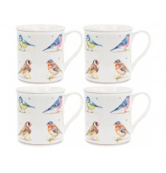 A set of 4 ceramic mugs each with a beautifully illustrated bird print. Each mug features a popular variety.