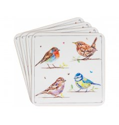 A set of coasters with a charming country living bird variety illustration.