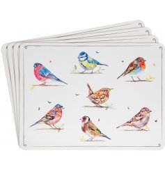 A set of 4 country birds placemats featuring popular breeds. A charming country living homeware item.