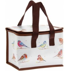 A beautifully illustrated country life birds lunch bag. A stylish gift item for lunch on the go.