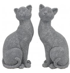 Add a touch of glamour to your home interior with this diamonte covered assortment of posed cat figures