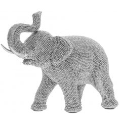 Add a touch of glamour to your home interior with this diamonte covered sitting elephant ornament