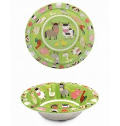 this farm yard animal covered plastic bowl will be sure to keep your little ones entertained while they eat