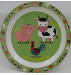 Covered in a farm animal illustrations, this little plastic plate will be sure to entertain your little ones while they
