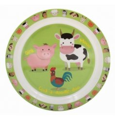 this farm yard animal covered plastic plate will be sure to keep your little ones entertained while they eat