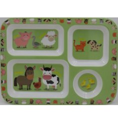 this little plastic tray with added compartments will be sure to entertain your little ones while they eat