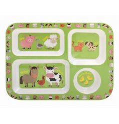 this farm yard animal covered plastic tray will be sure to keep your little ones entertained while they eat