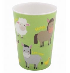 this farm yard animal covered plastic beaker will be sure to keep your little ones entertained while they eat