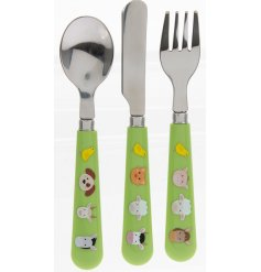 this farm animal covered set of cutlery will be sure to keep your little ones entertained while they eat