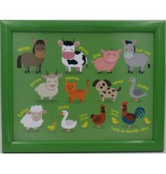 Covered in colourful illustrations of farm yard animals, this little plastic tray will be sure to entertain your little